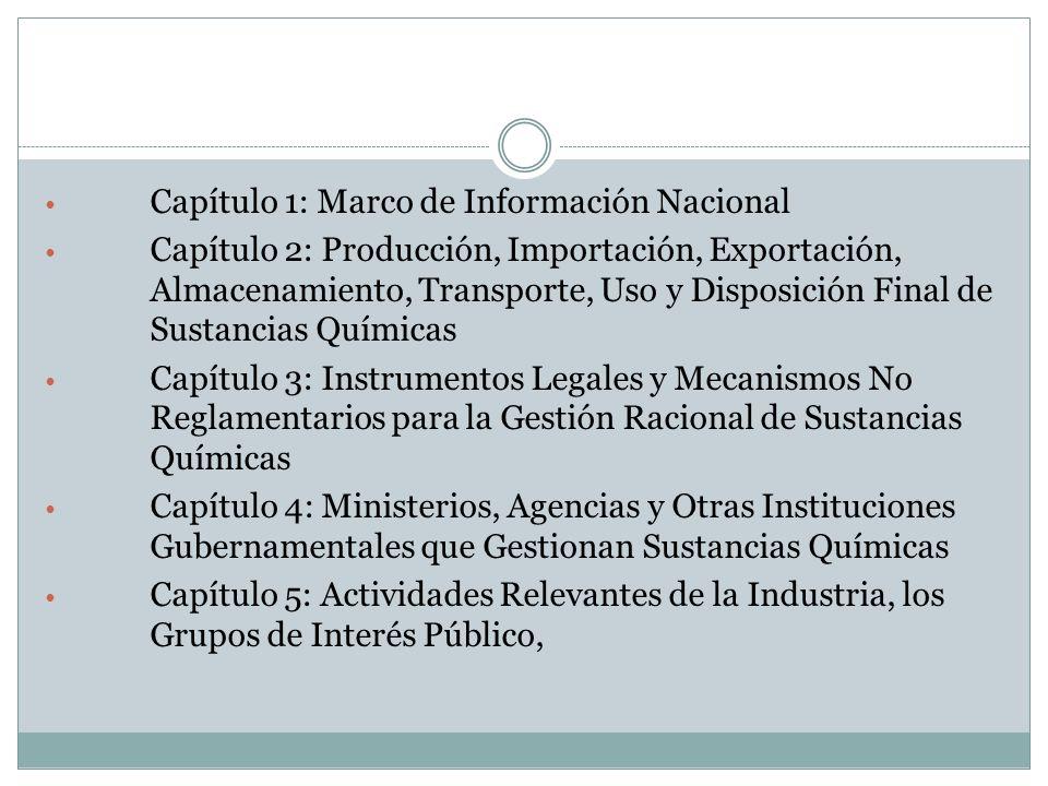 Capítulo 1: Marco de Información Nacional Capítulo 2: Producción, Importación, Exportación, Almacenamiento, Transporte, Uso y Disposición Final de Sus