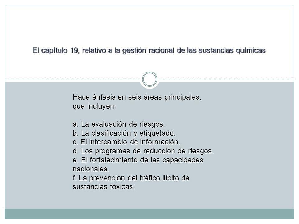 Hace énfasis en seis áreas principales, que incluyen: a. La evaluación de riesgos. b. La clasificación y etiquetado. c. El intercambio de información.