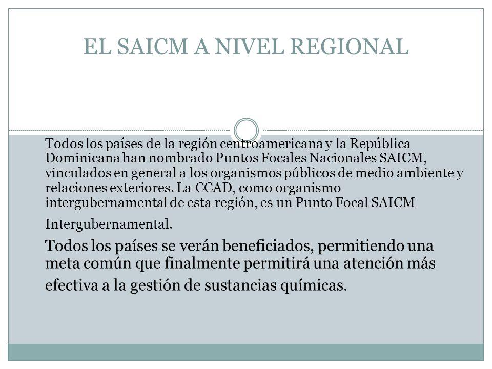 EL SAICM A NIVEL REGIONAL Todos los países de la región centroamericana y la República Dominicana han nombrado Puntos Focales Nacionales SAICM, vinculados en general a los organismos públicos de medio ambiente y relaciones exteriores.