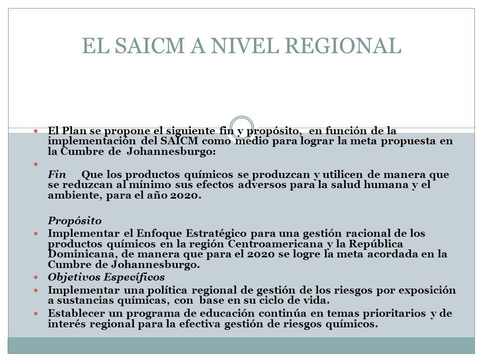 EL SAICM A NIVEL REGIONAL El Plan se propone el siguiente fin y propósito, en función de la implementación del SAICM como medio para lograr la meta pr