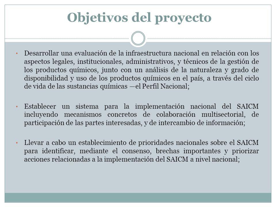 Objetivos del proyecto Desarrollar una evaluación de la infraestructura nacional en relación con los aspectos legales, institucionales, administrativo