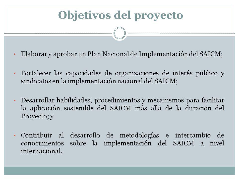 Objetivos del proyecto Elaborar y aprobar un Plan Nacional de Implementación del SAICM; Fortalecer las capacidades de organizaciones de interés públic