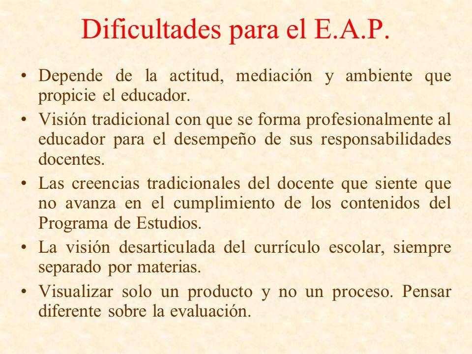 Dificultades para el E.A.P. Depende de la actitud, mediación y ambiente que propicie el educador. Visión tradicional con que se forma profesionalmente