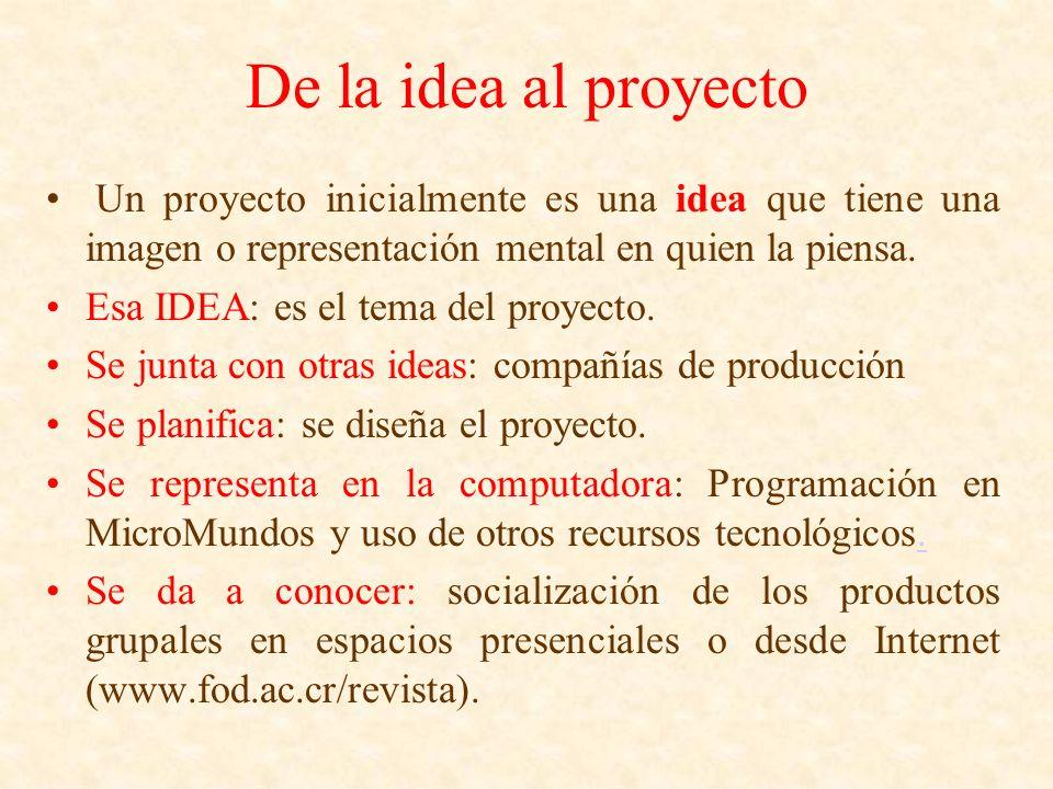 De la idea al proyecto Un proyecto inicialmente es una idea que tiene una imagen o representación mental en quien la piensa. Esa IDEA: es el tema del