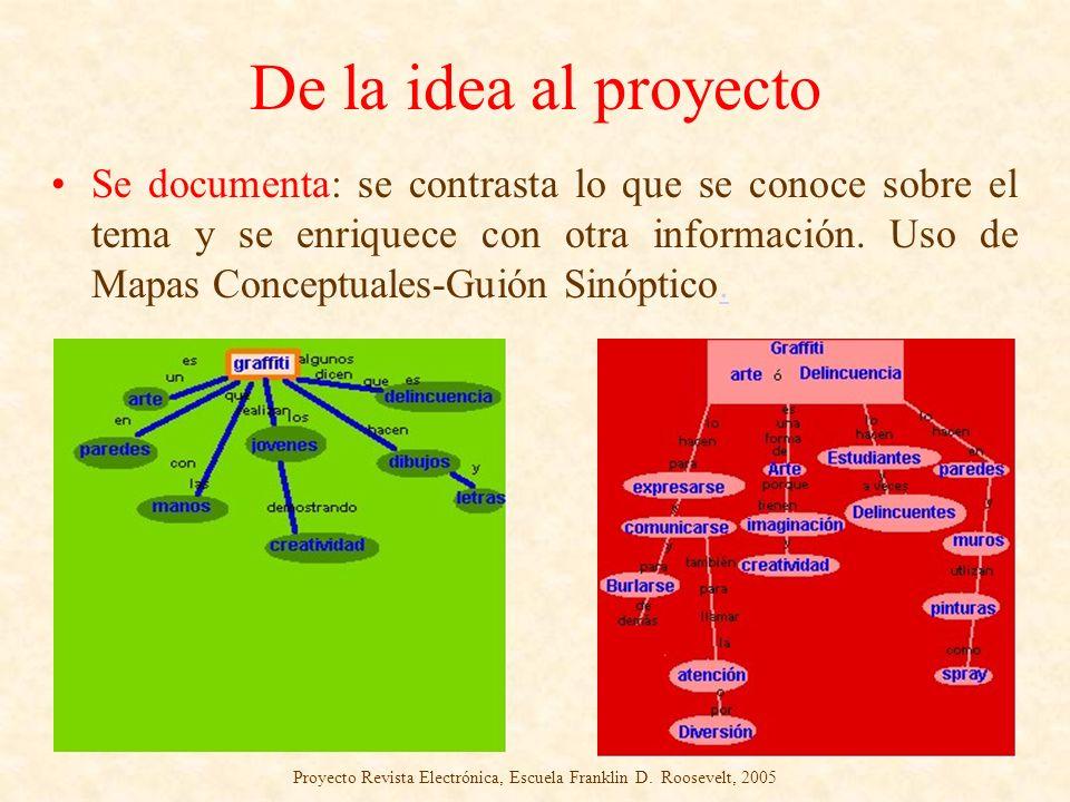 De la idea al proyecto Se documenta: se contrasta lo que se conoce sobre el tema y se enriquece con otra información. Uso de Mapas Conceptuales-Guión