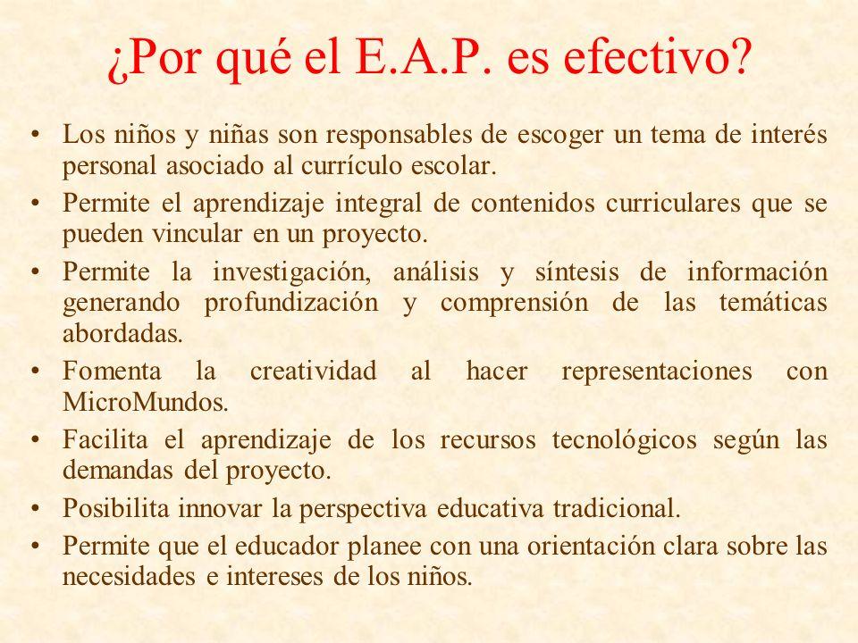 ¿Por qué el E.A.P. es efectivo? Los niños y niñas son responsables de escoger un tema de interés personal asociado al currículo escolar. Permite el ap