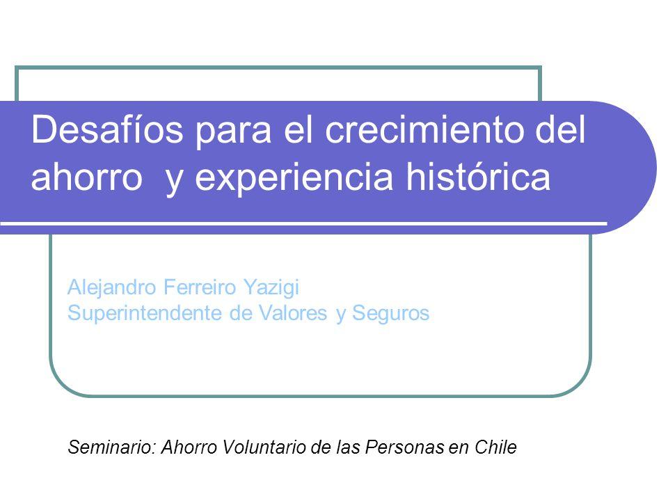 Desafíos para el crecimiento del ahorro y experiencia histórica Seminario: Ahorro Voluntario de las Personas en Chile Alejandro Ferreiro Yazigi Superintendente de Valores y Seguros