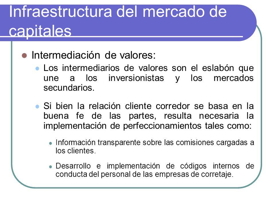 Infraestructura del mercado de capitales Intermediación de valores: Los intermediarios de valores son el eslabón que une a los inversionistas y los mercados secundarios.