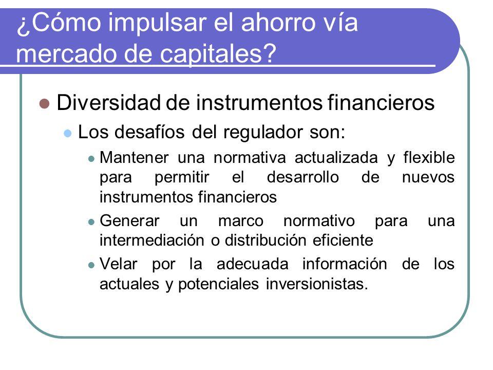 ¿Cómo impulsar el ahorro vía mercado de capitales? Diversidad de instrumentos financieros Los desafíos del regulador son: Mantener una normativa actua