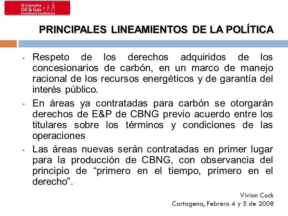 Respeto de los derechos adquiridos de los concesionarios de carbón, en un marco de manejo racional de los recursos energéticos y de garantía del interés público.