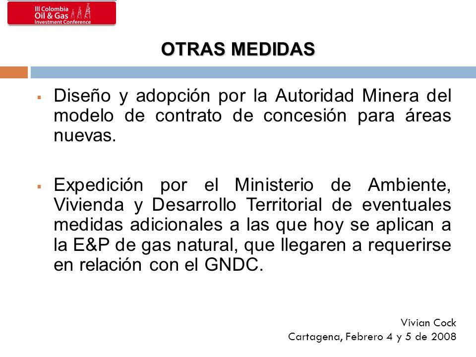 OTRAS MEDIDAS Diseño y adopción por la Autoridad Minera del modelo de contrato de concesión para áreas nuevas. Expedición por el Ministerio de Ambient