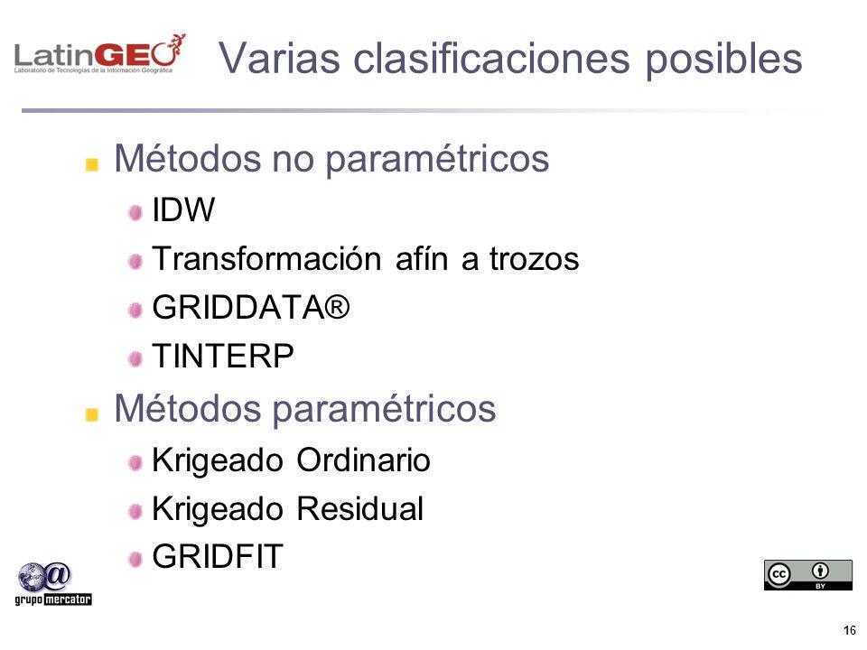 16 Varias clasificaciones posibles Métodos no paramétricos IDW Transformación afín a trozos GRIDDATA® TINTERP Métodos paramétricos Krigeado Ordinario