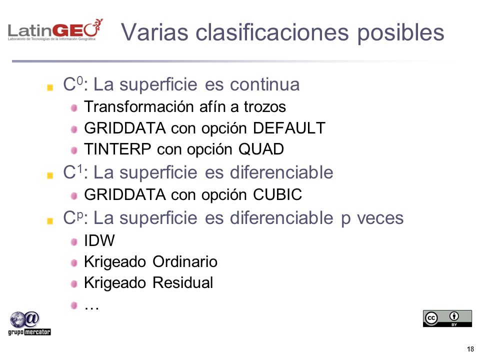 18 Varias clasificaciones posibles C 0 : La superficie es continua Transformación afín a trozos GRIDDATA con opción DEFAULT TINTERP con opción QUAD C