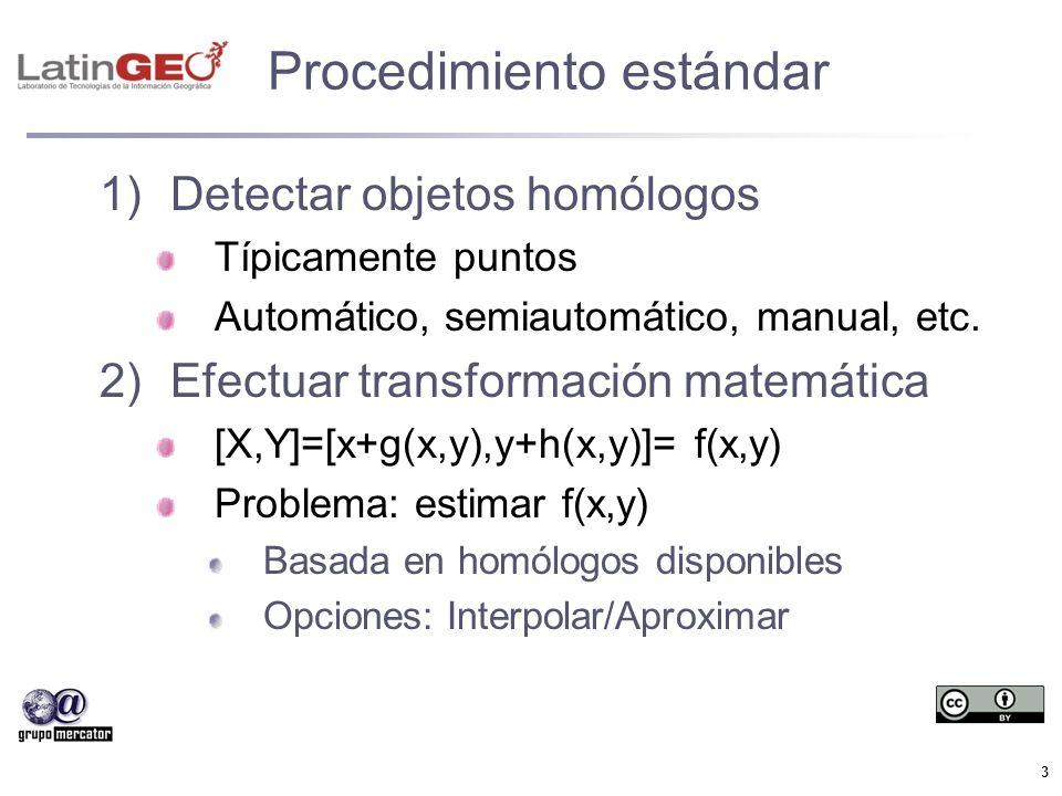3 Procedimiento estándar 1)Detectar objetos homólogos Típicamente puntos Automático, semiautomático, manual, etc. 2)Efectuar transformación matemática