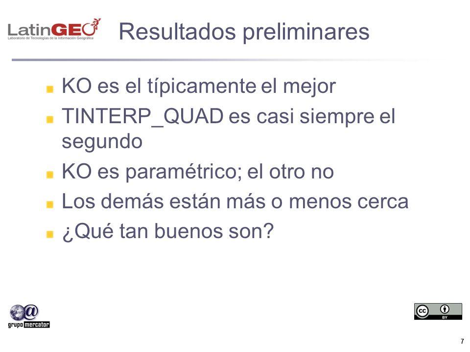 7 Resultados preliminares KO es el típicamente el mejor TINTERP_QUAD es casi siempre el segundo KO es paramétrico; el otro no Los demás están más o me