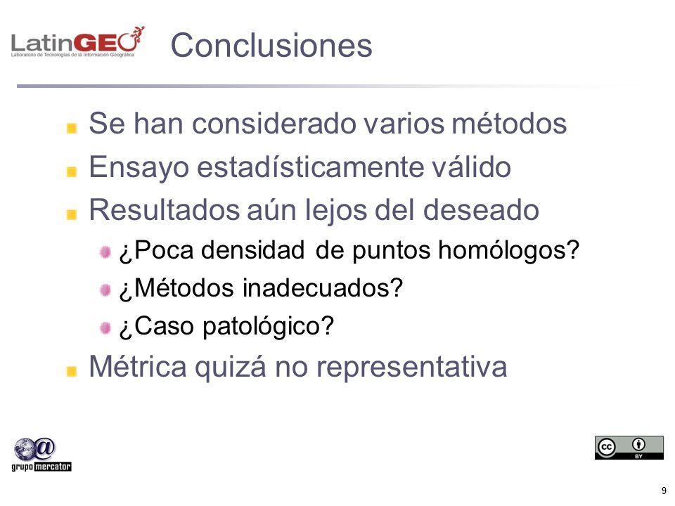 9 Conclusiones Se han considerado varios métodos Ensayo estadísticamente válido Resultados aún lejos del deseado ¿Poca densidad de puntos homólogos? ¿