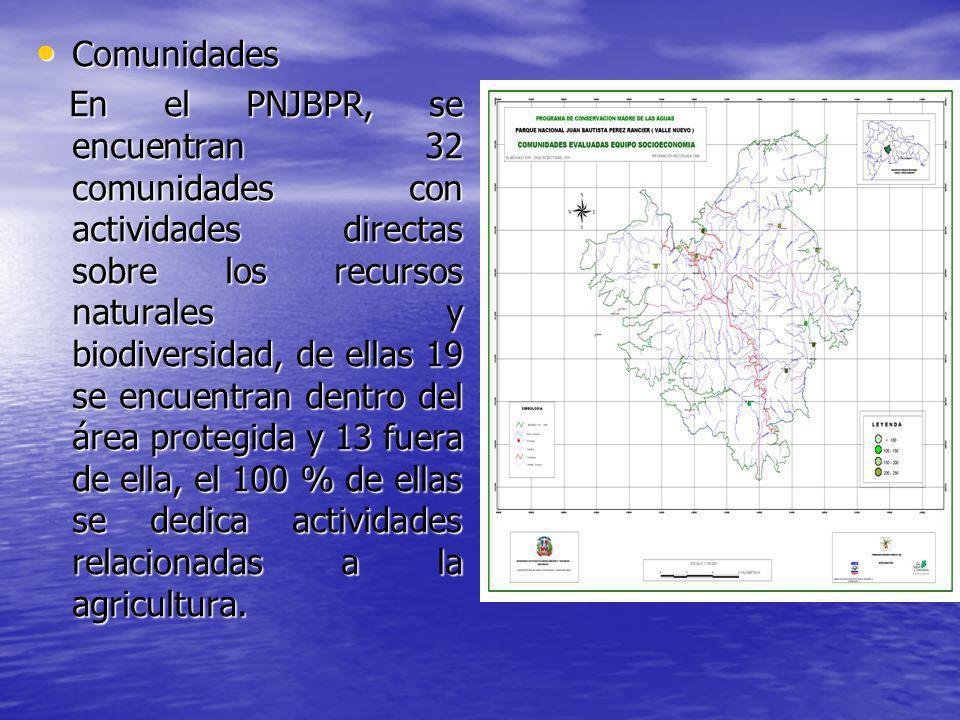 Comunidades Comunidades En el PNJBPR, se encuentran 32 comunidades con actividades directas sobre los recursos naturales y biodiversidad, de ellas 19