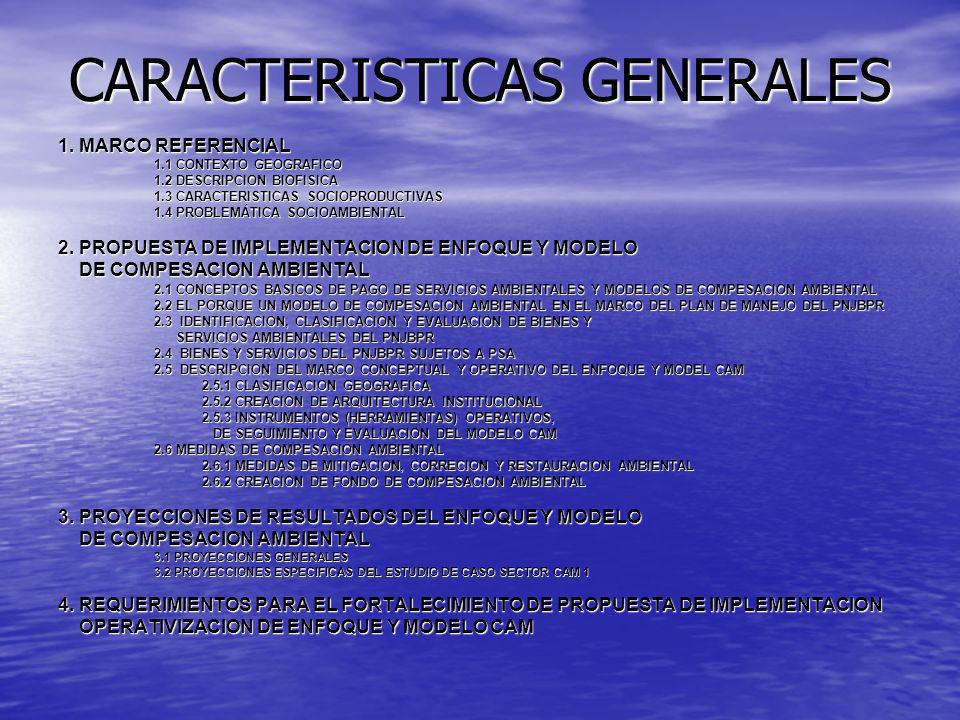 CARACTERISTICAS GENERALES 1. MARCO REFERENCIAL 1.1 CONTEXTO GEOGRAFICO 1.2 DESCRIPCION BIOFISICA 1.3 CARACTERISTICAS SOCIOPRODUCTIVAS 1.4 PROBLEMÁTICA