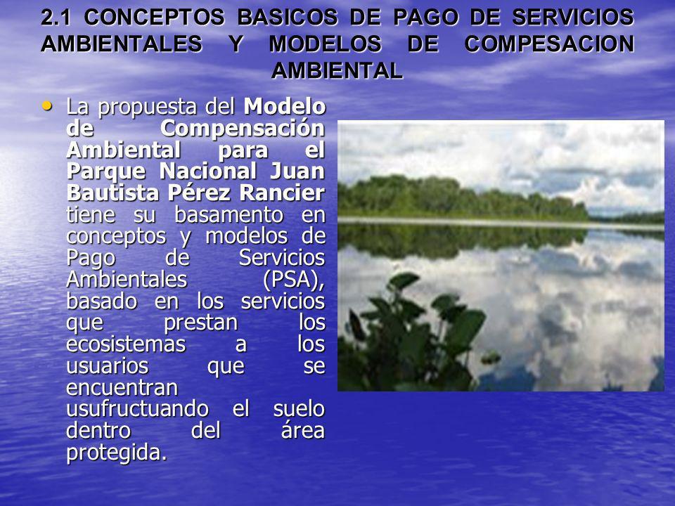 2.1 CONCEPTOS BASICOS DE PAGO DE SERVICIOS AMBIENTALES Y MODELOS DE COMPESACION AMBIENTAL La propuesta del Modelo de Compensación Ambiental para el Pa