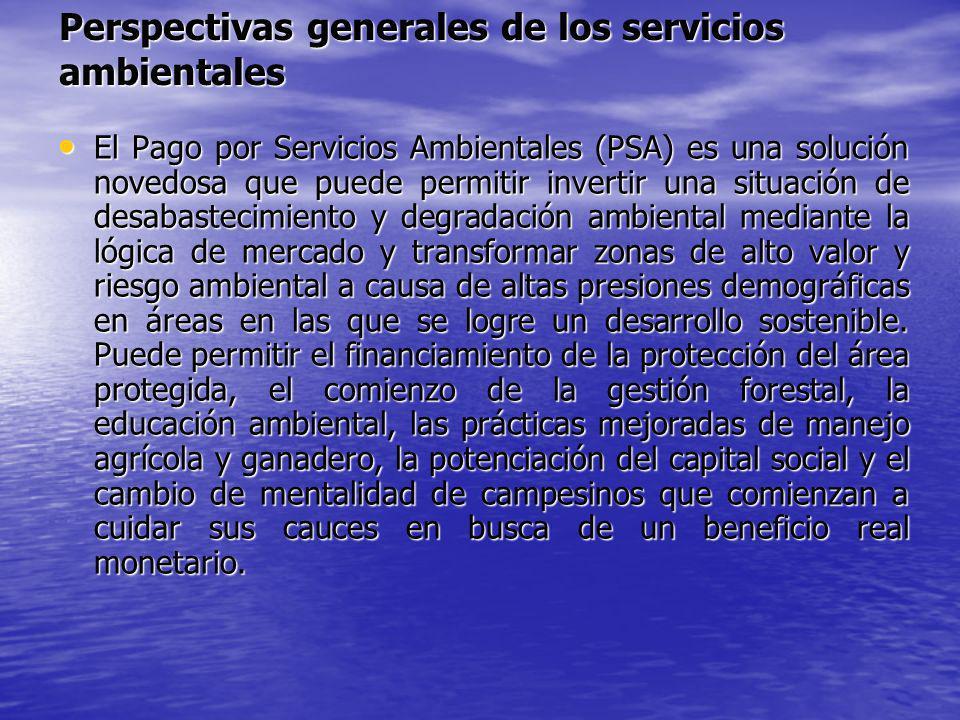 Perspectivas generales de los servicios ambientales El Pago por Servicios Ambientales (PSA) es una solución novedosa que puede permitir invertir una s