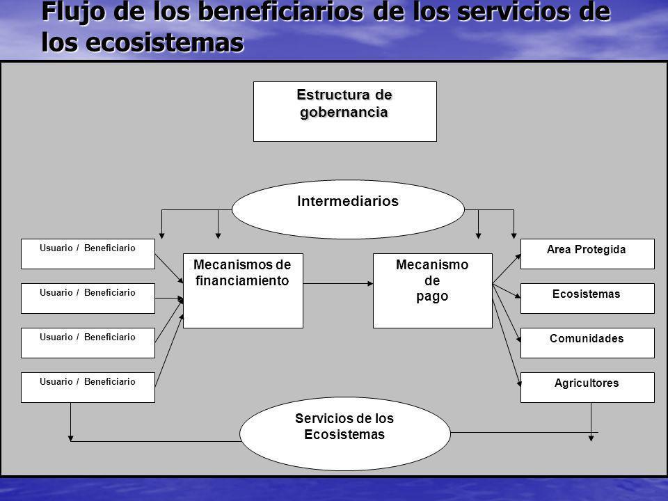 Flujo de los beneficiarios de los servicios de los ecosistemas Estructura de gobernancia Intermediarios Mecanismos de financiamiento Mecanismo de pago