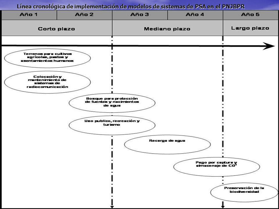 Línea cronológica de implementación de modelos de sistemas de PSA en el PNJBPR