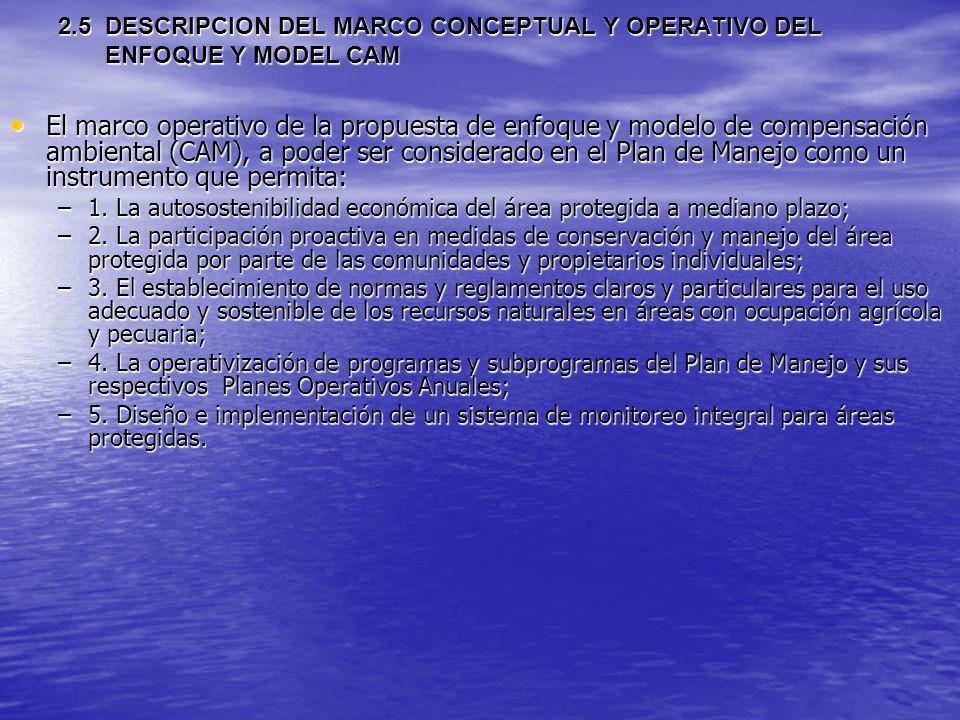 2.5 DESCRIPCION DEL MARCO CONCEPTUAL Y OPERATIVO DEL ENFOQUE Y MODEL CAM El marco operativo de la propuesta de enfoque y modelo de compensación ambien
