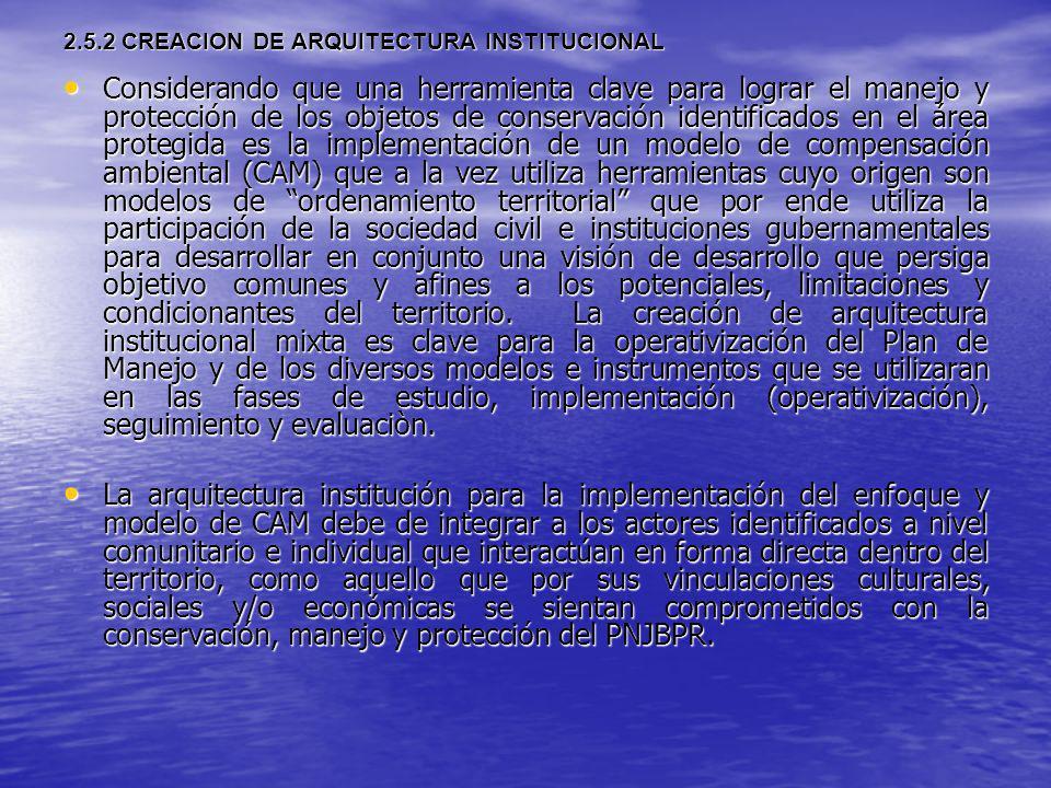 2.5.2 CREACION DE ARQUITECTURA INSTITUCIONAL Considerando que una herramienta clave para lograr el manejo y protección de los objetos de conservación