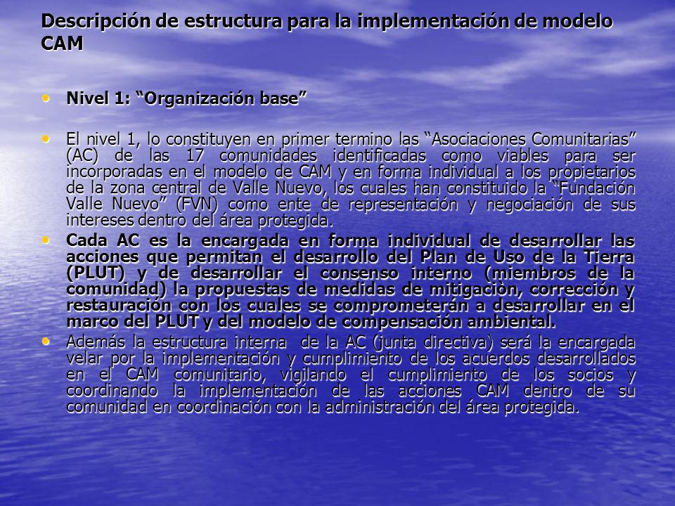 Descripción de estructura para la implementación de modelo CAM Nivel 1: Organización base Nivel 1: Organización base El nivel 1, lo constituyen en pri