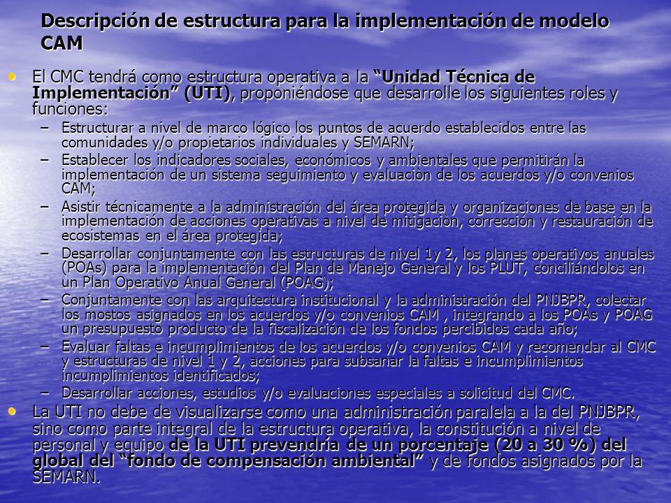 Descripción de estructura para la implementación de modelo CAM El CMC tendrá como estructura operativa a la Unidad Técnica de Implementación (UTI), pr