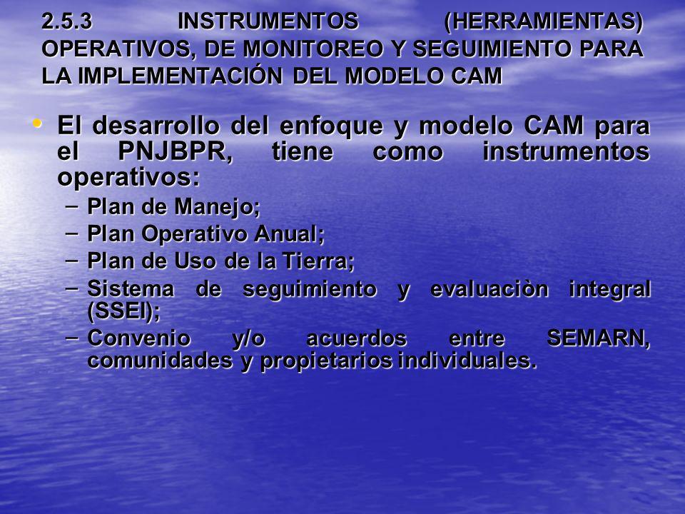 2.5.3 INSTRUMENTOS (HERRAMIENTAS) OPERATIVOS, DE MONITOREO Y SEGUIMIENTO PARA LA IMPLEMENTACIÓN DEL MODELO CAM El desarrollo del enfoque y modelo CAM
