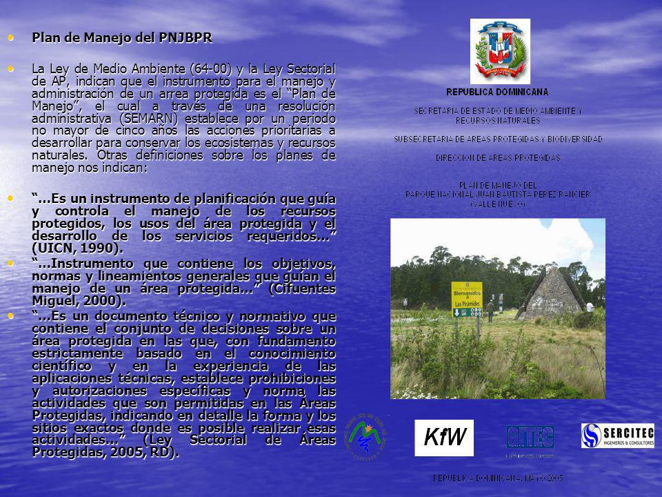 Plan de Manejo del PNJBPR Plan de Manejo del PNJBPR La Ley de Medio Ambiente (64-00) y la Ley Sectorial de AP, indican que el instrumento para el mane