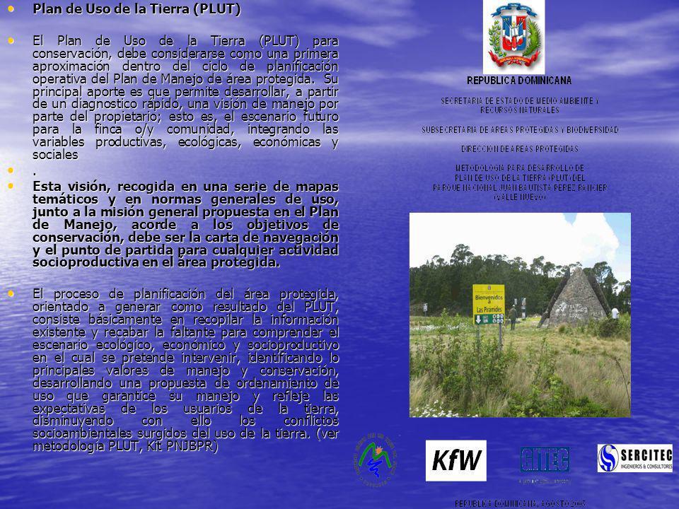 Plan de Uso de la Tierra (PLUT) Plan de Uso de la Tierra (PLUT) El Plan de Uso de la Tierra (PLUT) para conservación, debe considerarse como una prime