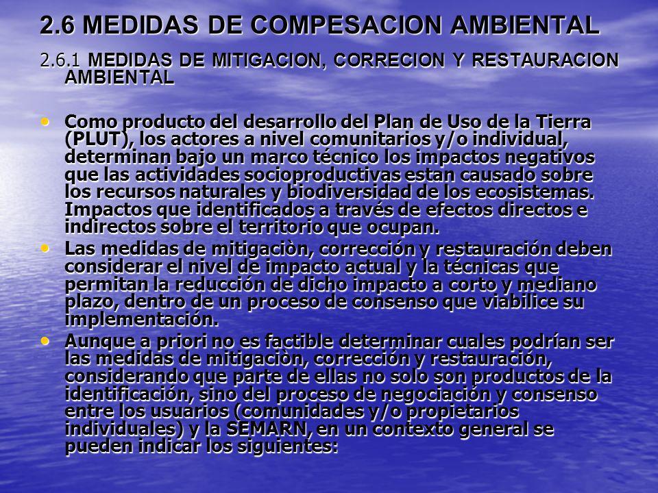 2.6 MEDIDAS DE COMPESACION AMBIENTAL 2.6.1 MEDIDAS DE MITIGACION, CORRECION Y RESTAURACION AMBIENTAL Como producto del desarrollo del Plan de Uso de l