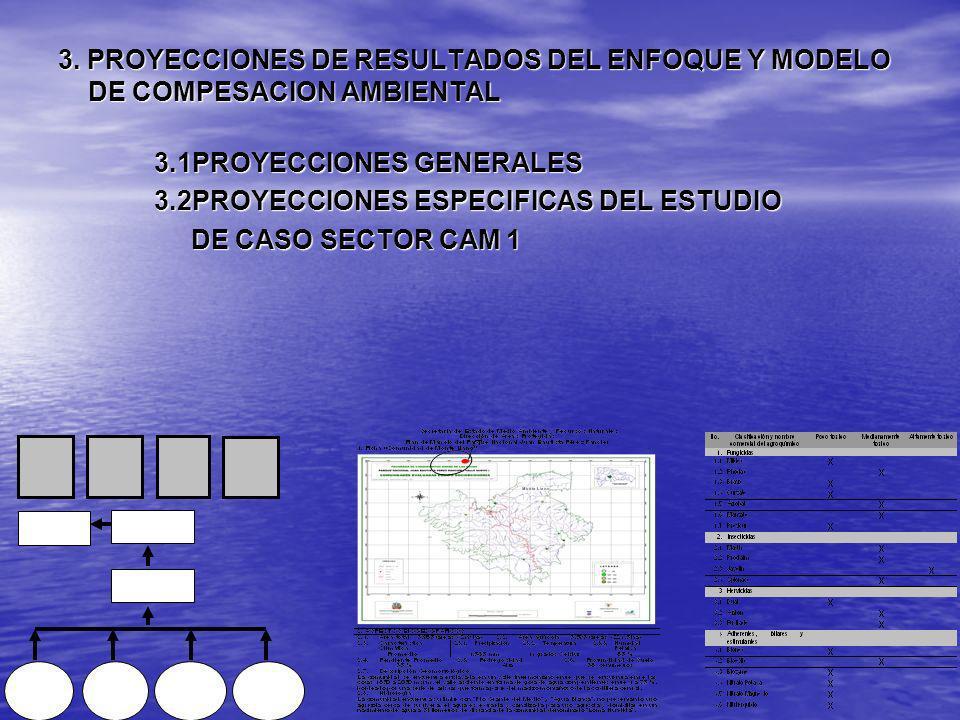 3. PROYECCIONES DE RESULTADOS DEL ENFOQUE Y MODELO DE COMPESACION AMBIENTAL 3.1PROYECCIONES GENERALES 3.2PROYECCIONES ESPECIFICAS DEL ESTUDIO DE CASO