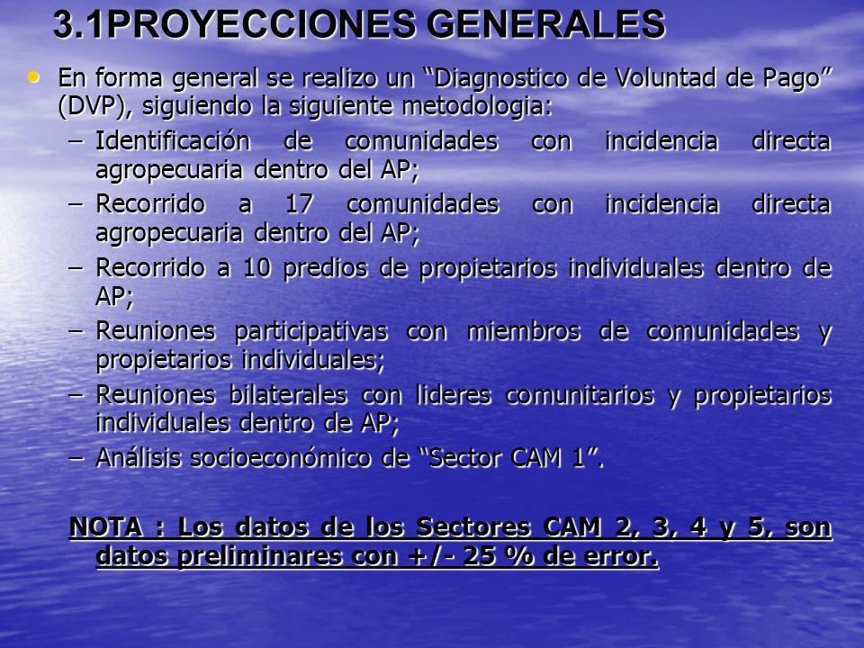 3.1PROYECCIONES GENERALES En forma general se realizo un Diagnostico de Voluntad de Pago (DVP), siguiendo la siguiente metodologia: En forma general s