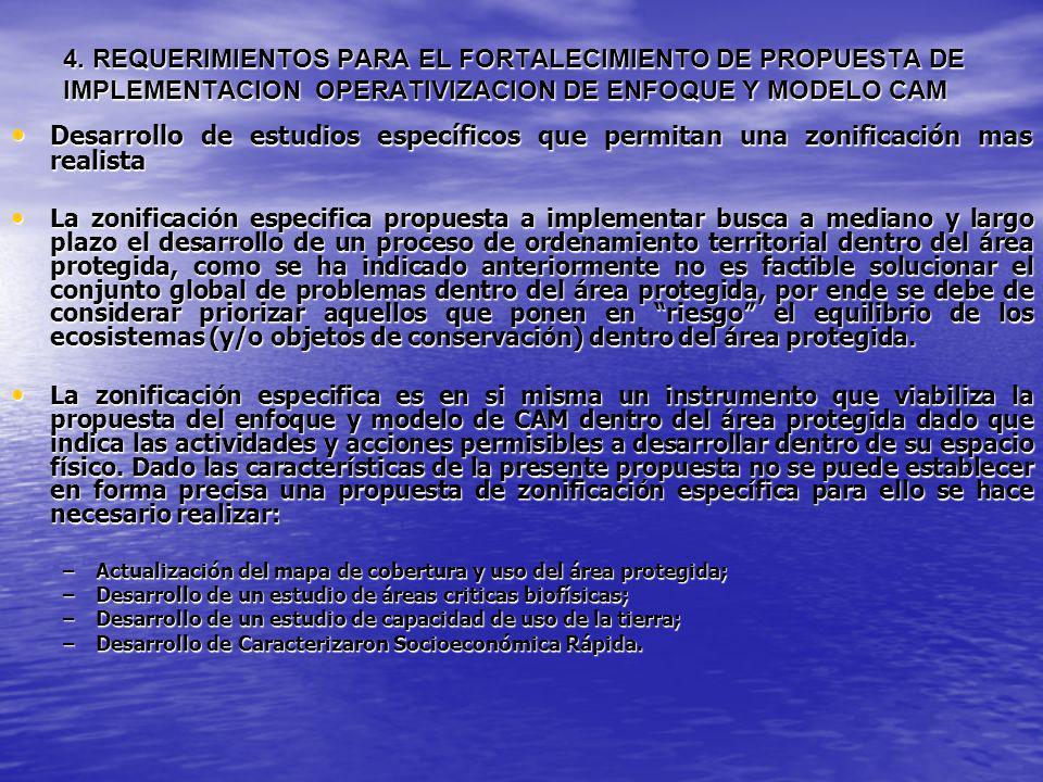 4. REQUERIMIENTOS PARA EL FORTALECIMIENTO DE PROPUESTA DE IMPLEMENTACION OPERATIVIZACION DE ENFOQUE Y MODELO CAM Desarrollo de estudios específicos qu