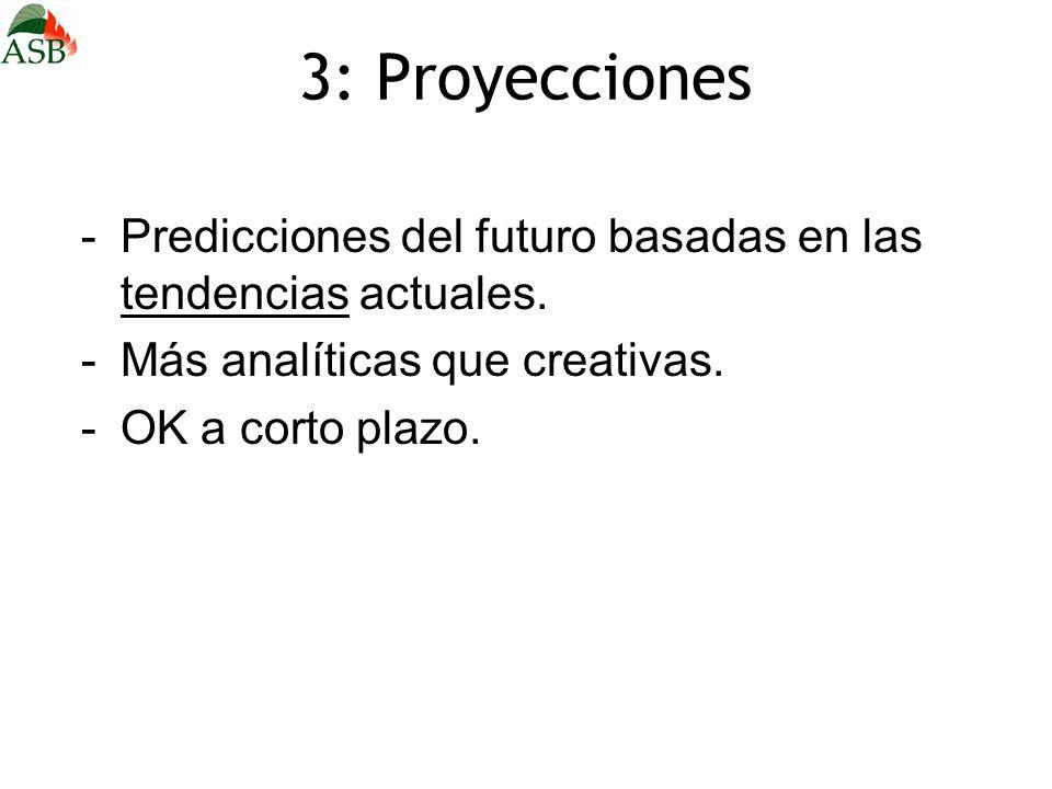 3: Proyecciones -Predicciones del futuro basadas en las tendencias actuales. -Más analíticas que creativas. -OK a corto plazo.
