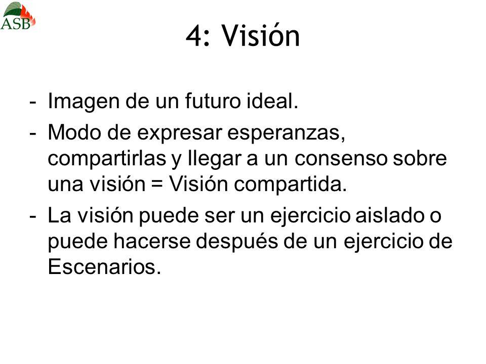 4: Visión -Imagen de un futuro ideal. -Modo de expresar esperanzas, compartirlas y llegar a un consenso sobre una visión = Visión compartida. -La visi