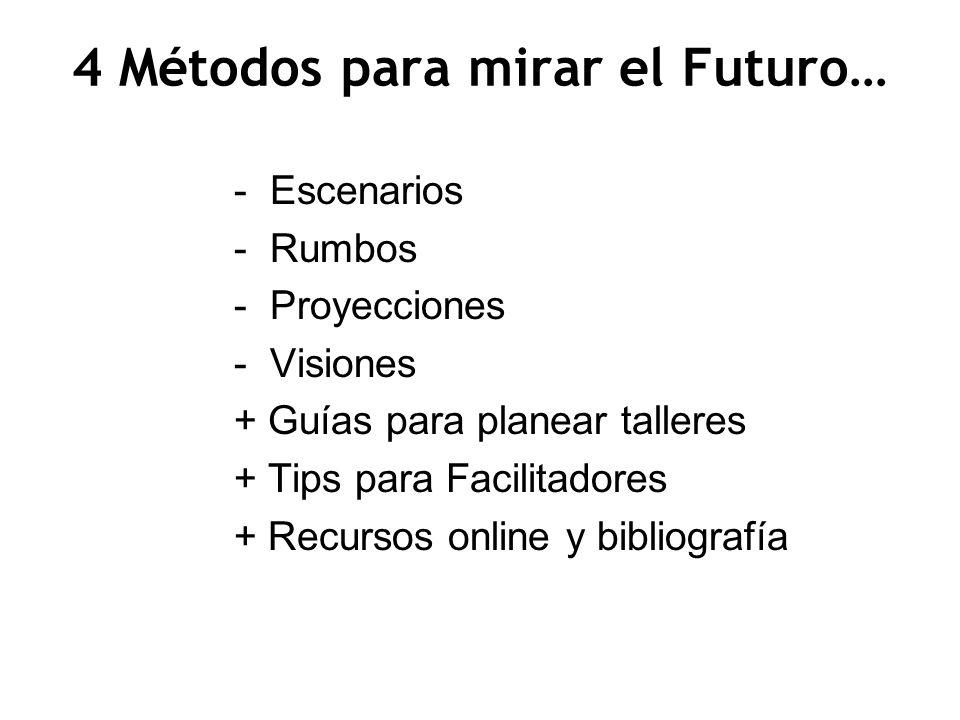 4 Métodos para mirar el Futuro… -Escenarios -Rumbos -Proyecciones -Visiones + Guías para planear talleres + Tips para Facilitadores + Recursos online
