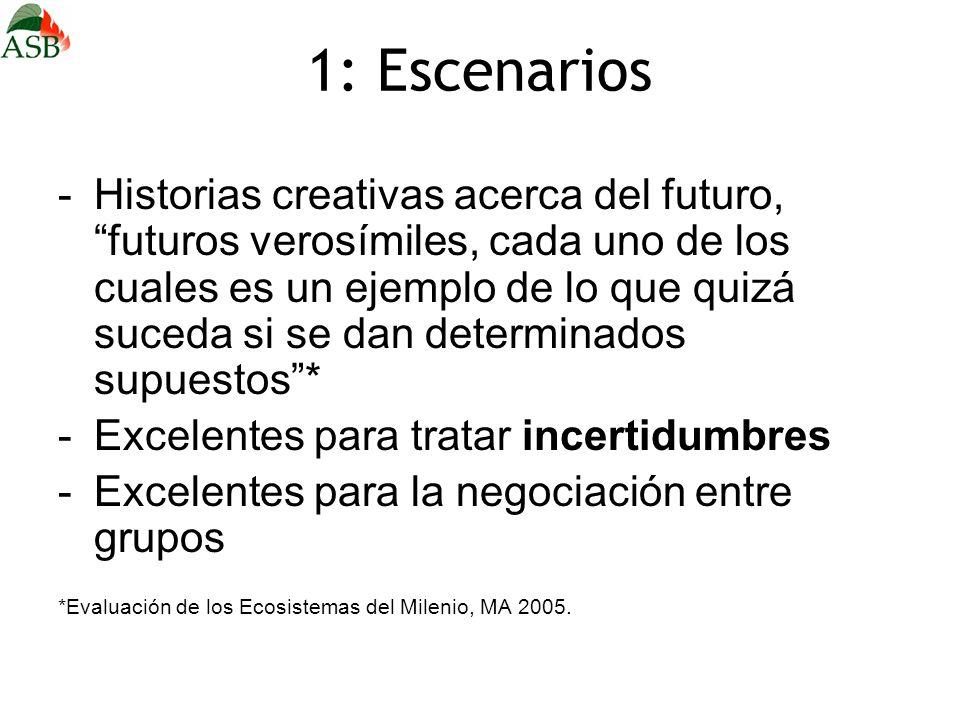 1: Escenarios -Historias creativas acerca del futuro, futuros verosímiles, cada uno de los cuales es un ejemplo de lo que quizá suceda si se dan deter