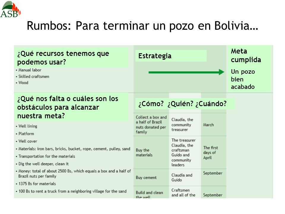 Rumbos: Para terminar un pozo en Bolivia… Estrategia Meta cumplida Un pozo bien acabado ¿Cómo? ¿Quién? ¿Cuándo? ¿Qué recursos tenemos que podemos usar