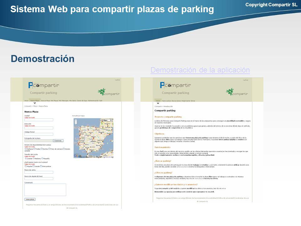 Copyright Compartir SL Sistema Web para compartir plazas de parking Demostración Demostración de la aplicación
