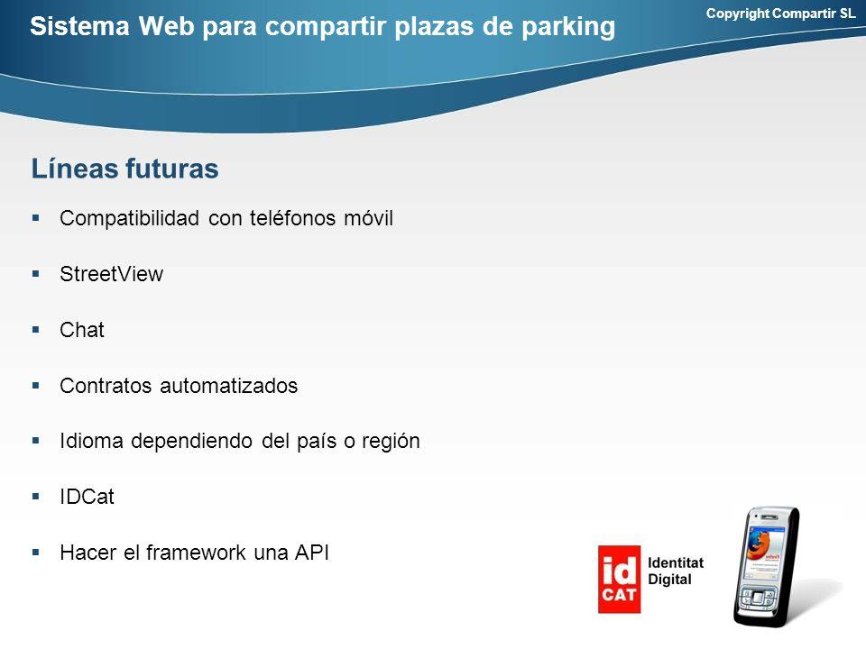 Copyright Compartir SL Sistema Web para compartir plazas de parking Compatibilidad con teléfonos móvil StreetView Chat Contratos automatizados Idioma dependiendo del país o región IDCat Hacer el framework una API Líneas futuras