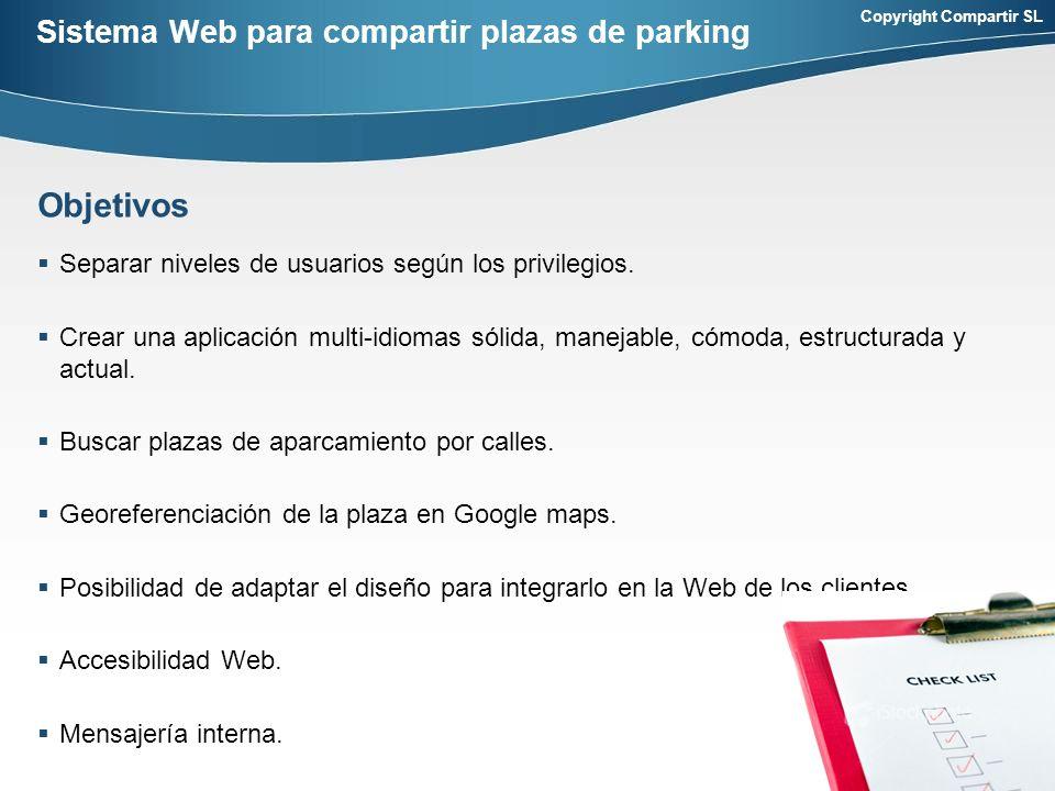 Copyright Compartir SL Sistema Web para compartir plazas de parking Separar niveles de usuarios según los privilegios.