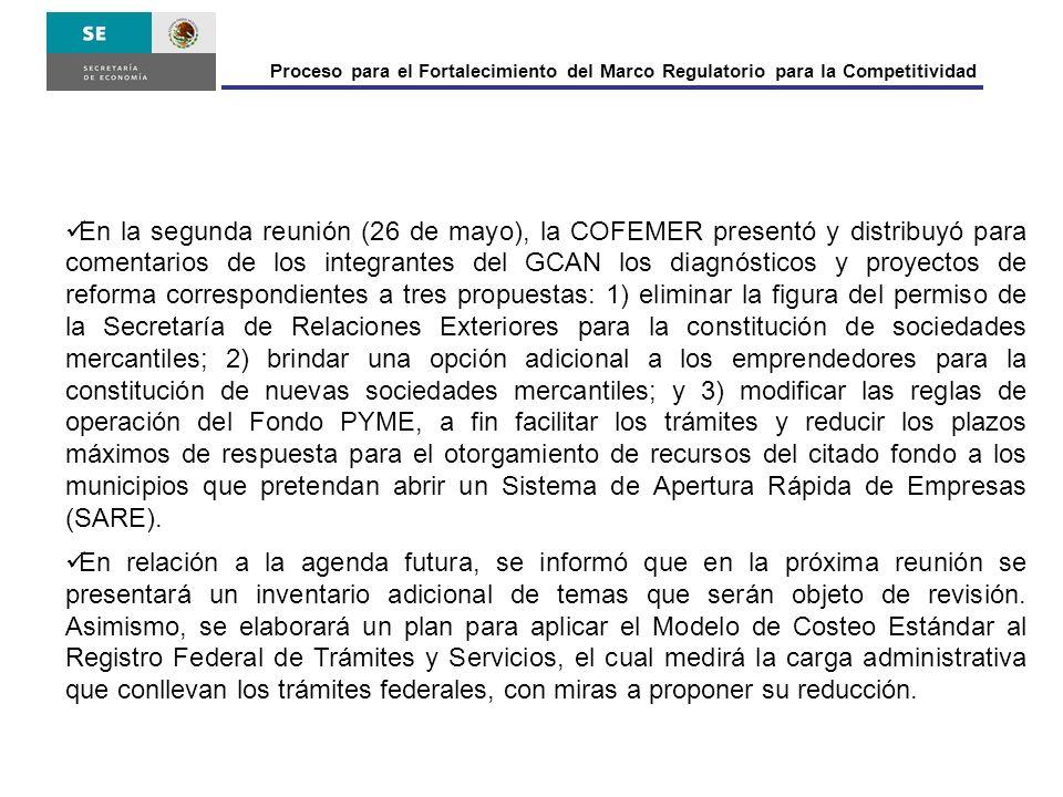 Proceso para el Fortalecimiento del Marco Regulatorio para la Competitividad En la segunda reunión (26 de mayo), la COFEMER presentó y distribuyó para