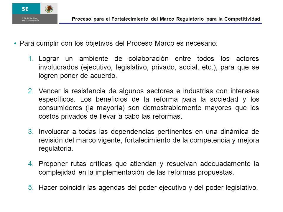 Proceso para el Fortalecimiento del Marco Regulatorio para la Competitividad Para cumplir con los objetivos del Proceso Marco es necesario: 1.Lograr u