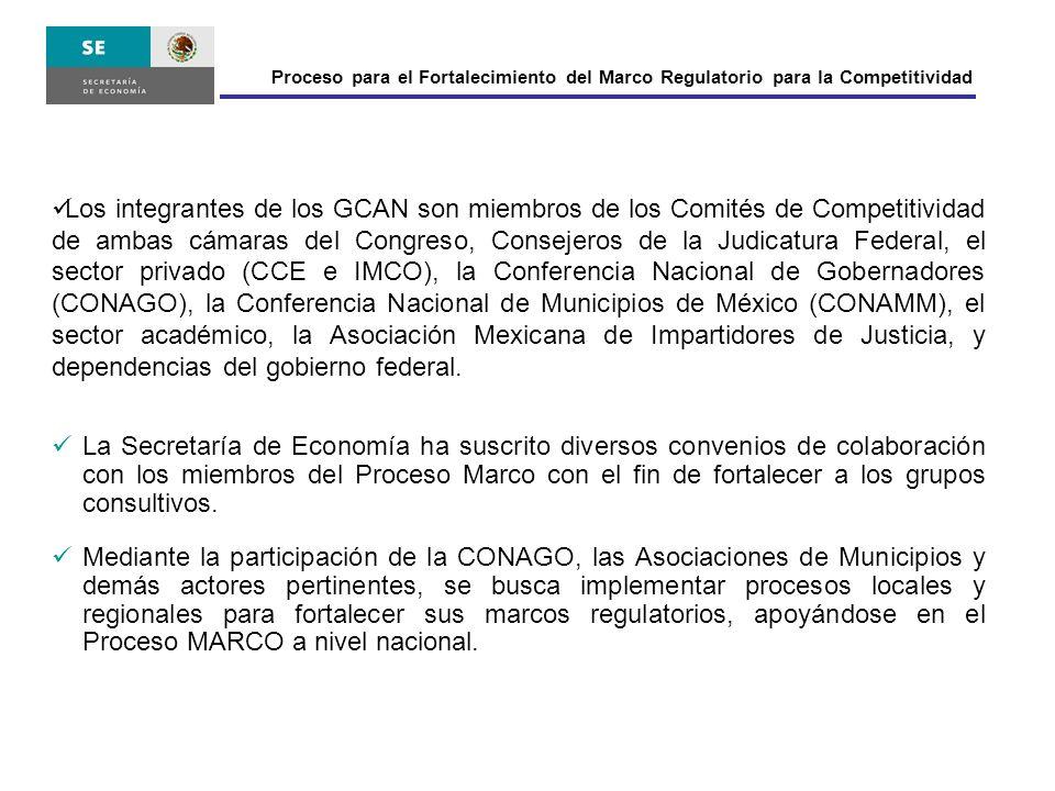 Los integrantes de los GCAN son miembros de los Comités de Competitividad de ambas cámaras del Congreso, Consejeros de la Judicatura Federal, el secto