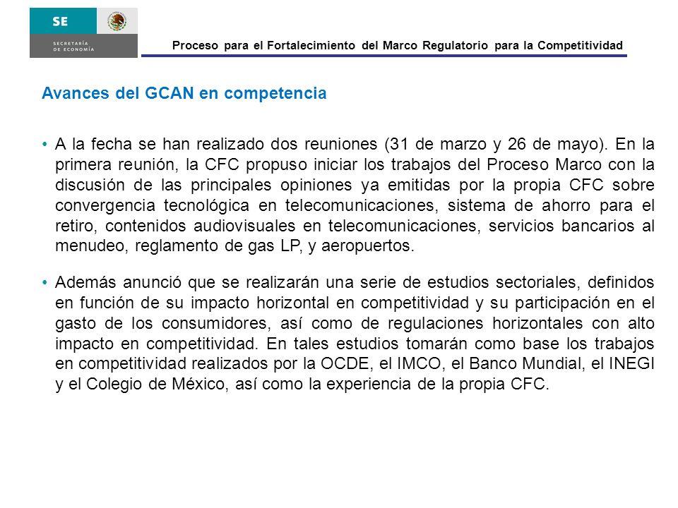 Avances del GCAN en competencia A la fecha se han realizado dos reuniones (31 de marzo y 26 de mayo). En la primera reunión, la CFC propuso iniciar lo