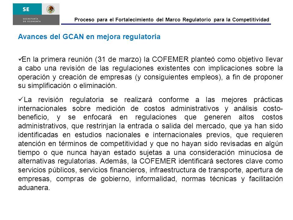Proceso para el Fortalecimiento del Marco Regulatorio para la Competitividad Avances del GCAN en mejora regulatoria En la primera reunión (31 de marzo